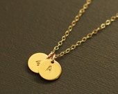 Gold Initials Necklace - 2 Initials - Gold Personalized Initial Necklace - Customized necklace