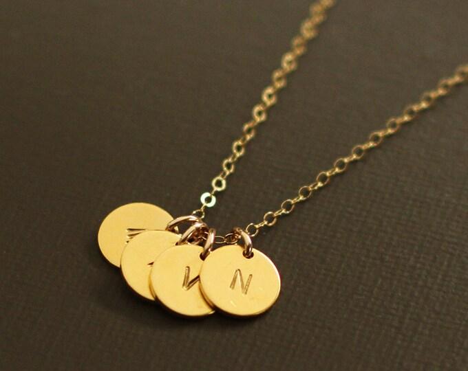 Gold Initials Necklace - 4 Initials - Gold Personalized Initial Necklace - Customized necklace