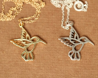 Humming bird necklace - gold hummingbird necklace - silver hummingbird - a 22k gold vermeil hummingbird on a 14k gold filled chain