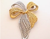 Vintage PARKLANE Bow Brooch / Pin Silver and Gold Tone