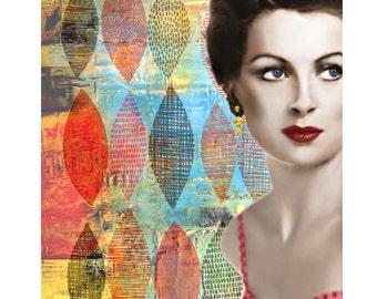 Retro vintage goddess, Deborah Kerr, digital print, photomontage, 1950 s retro print, hollywood, fine art print, home decor, vintage print