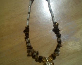 Tiger's Eye Drop Pendant Necklace with Citrine