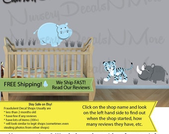 Jungle Wall Decals for Nursery, Animal Wall Decals, Boy Wall Stickers (SG Extra Animal Baby Blue) SGEA