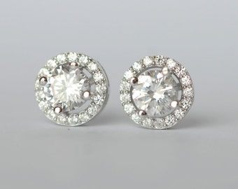 925 Sterling Silver Round Shining Elegant Silver Stud Earrings 481