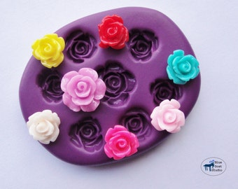 Rose Combo Mold/Mould - Mini Rose -  Silicone Molds - Polymer Clay Resin Fondant