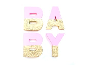 Baby Pink & Gold Glitter BABY Letters - Glitter Letters, Custom Letters, Baby showr decor, Freestanding Letters, Paper Mache Letters