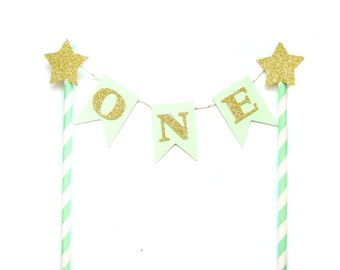 Mint Green & Gold Birthday Cake Topper - First Birthday Cake Topper, 1st Birthday, Cake Bunting, birthday, baby shower, tea party