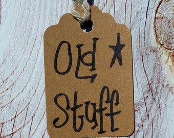 Primitive Hang tag Old stuff Rustic Gift tag Paper craft scallop top pre strung set of 25 tags