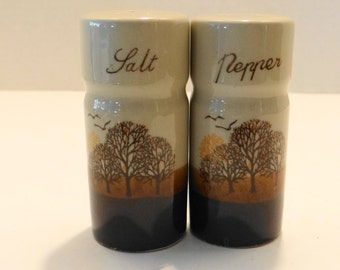 Vintage 70's-80's Earthy Glazed Stoneware Brown/Tan/Rust  Salt Pepper Shakers with Nature Trees/Birds/Sun