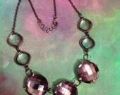 Statement necklace // large gray jewel pendant // sparkle necklace  // princess jewels