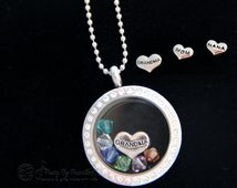 Mother's Necklace Med Glass Memory Locket with floating birthstones for her grandgrandchildren, Perfect gift for Mother's Day-Up to 12stones