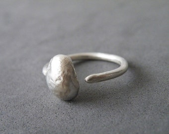Adjustable Sterling Silver Dot Ring Open Bubble Ring Modern Minimalist Ring by SteamyLab