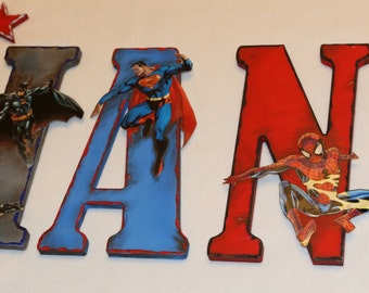 Superhero Star Set - Set of 3 - ADD ON to a Superhero letter set or plaque. You pick colors and size.