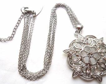 Vintage Rhodium Finished Rhinestone Multichain Necklace Signed NY