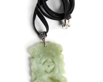 Vintage Carved Bali Nephrite Jade Velvet Ribbon Necklace