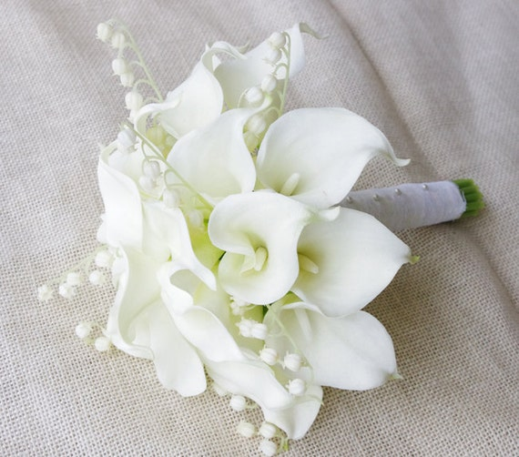 Wedding Bouquets With Arum Lilies : Natural touch calla lilies bouquet in off white silk wedding