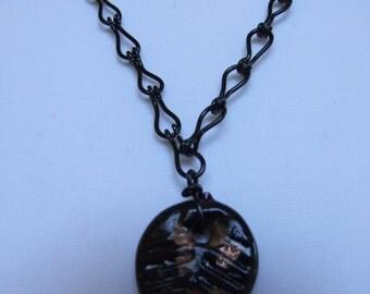 Black leaf pendant 0296NK