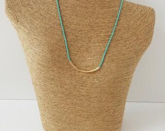 Turquoise necklace,minimalist necklace,bar necklace,teal bar necklace,gold and aqua necklace,dainty necklace,noodle necklace,bridesmaid gift