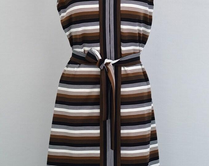 Vintage 1970s brown stripe mod dress  - Size Medium - Large M/L