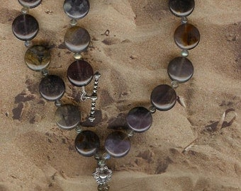 And Aweigh We Go - Carved Gemstone Agate Anchor Pendant, Purple Agate, Labradorite, SS Necklace Ocean Beach Sea Jewelry