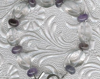 Bracelet - Rock Quartz, Amethyst, Sterling Silver