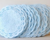 "Paper Doilies Light Blue Hand Dyed 5""- French Lace Doilies, Wedding Decoration, Vintage Wedding, Lace Doilies, Bridal Showers, Baby Shower"
