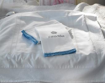 smALLbaby ALL ORGANIC  monogrammed  diaper burp cloth hand crocheted edge
