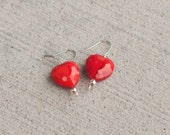 Dangle Earrings, Heart Earrings, Beaded Earrings, Heart Jewelry, Valentine's Day, Gifts For Her