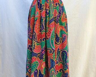 Vintage 1960s Paisley Skirt Long Over the knee Length Cord Printed Boho Festival Pleat - Bright Retro Hippie Clothing Size 12 Medium Large