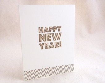 Happy New Year Letterpress Holiday Card - Single Card or Set of 6 - Ready to Ship