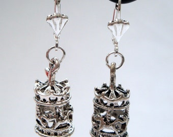 Carousel charm earrings vintage style antique silver merry-go-round