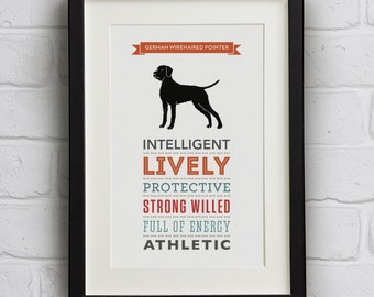 German Wirehaired Pointer Dog Breed Traits Print - GWP Gift