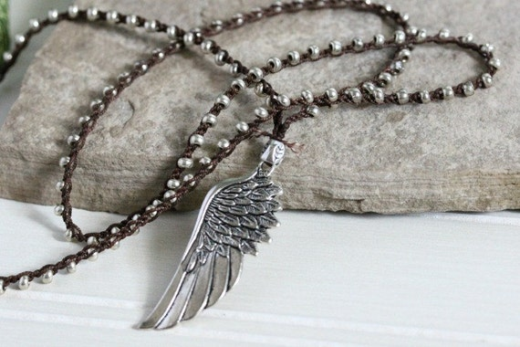 Angel Wing Pendant Necklace Silver Crochet by ...