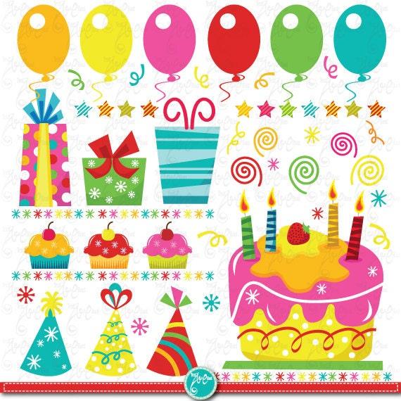 "Birthday Party Clip Art ""BIRTHDAY PARTY""clipart Set"