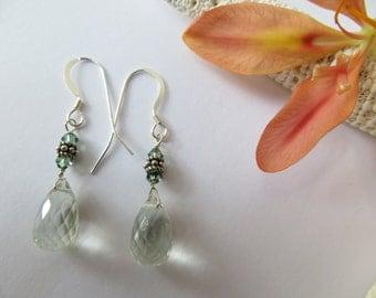 Green Quartz Earrings, Briolette Earrings, Sterling Silver Earrings, Green Amethyst Prasiolite Earrings, Semi Precious Gemstone Earrings