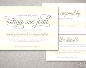 "Modern Striped ""Tanya"" Wedding Invitation Suite - Elegant Preppy Calligraphy Stripe Custom Invitations - Digital Printable / Printed Invite"