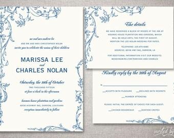 "Garden Vintage ""Marissa"" Wedding Invitations Suite - Floral Shabby Chic Rustic Invitation - Custom DIY Digital Printable or Printed Invite"