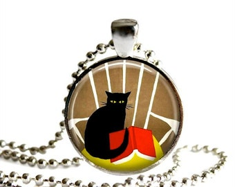 Black cat necklace, book necklace, book and cat pendant, book club gift for her, teacher gift, cat lover.