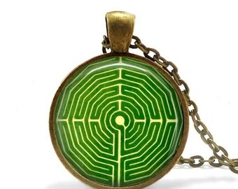 Garden maze necklace Vintage horticulture image Gift for gardener green pendant jewelry.