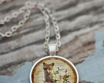 FREE SHIPPING Fox in a Teacup glass necklace. Floral Shabby Chic. Available in silver or bronze.