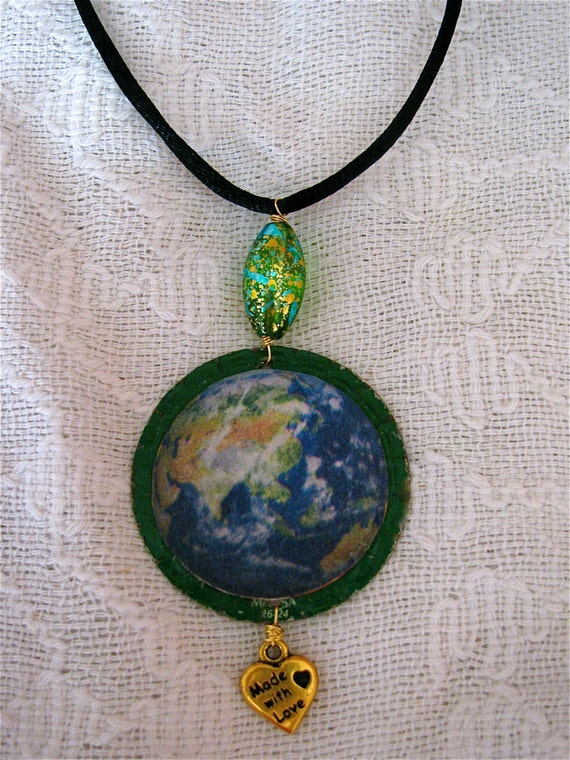Love Planet Earth Recycled bottle cap necklace/mala with glass bead