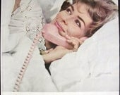 Talking in bed woman on telephone Bell 1962 Vintage Print Ad