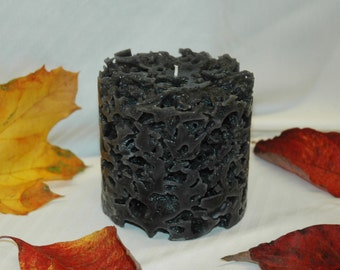"Black, Coral Shaped Candle - Approximately 4"" x 4"""