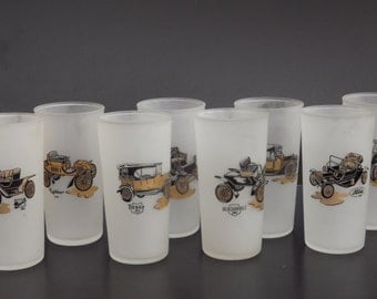Vintage, Frosted glass antique car glasses