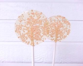Peach Wedding Favors, Peach Lollipops, Peach Wedding, Peach Wedding, Shabby Chic, Sparkle Lollipops --Set of Six