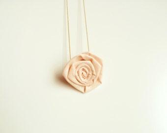 Pink necklace/ cotton rosette/ fiber necklace/ necklace handmade/ pendant/ golden chain