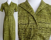 1950s Dress / Pea Green / Belted / 50s Day Dress