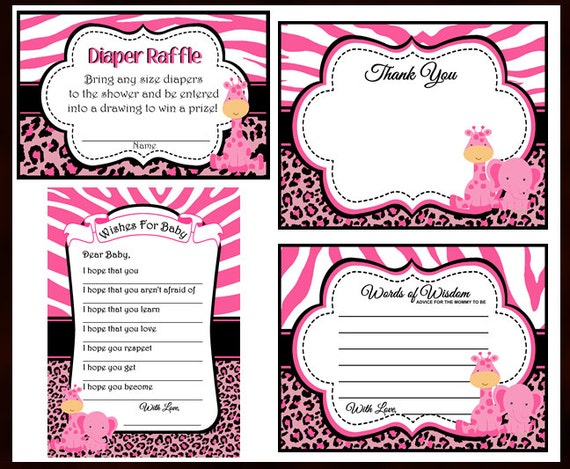 Pink Safari Baby Shower Favors, Advice Card, Thank You Card, Diaper Raffle,  Wishes For Baby, Instant Download   Digital File