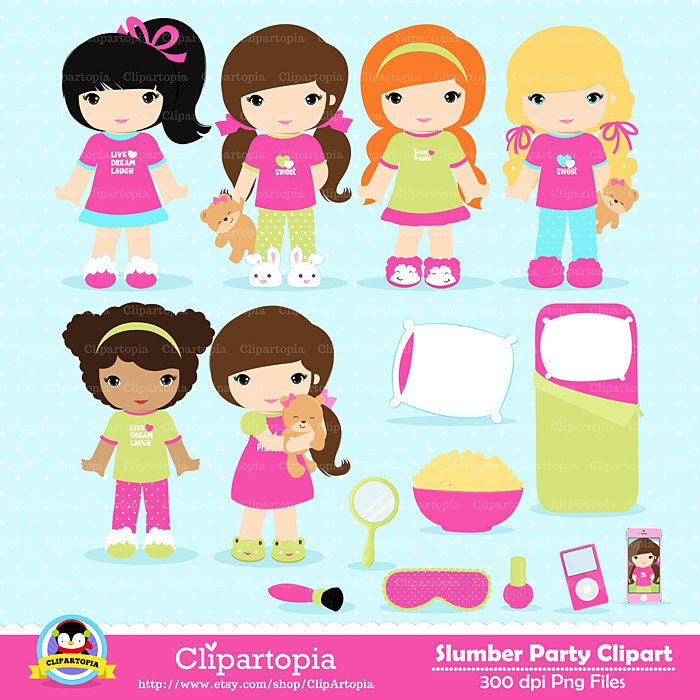 slumber party digital clipart sleepover clipart pajamas slumber party clipart free sleepover party clipart