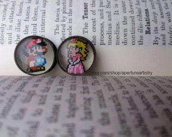 Pair of hand drawn Mario plugs sizes 10mm and above.